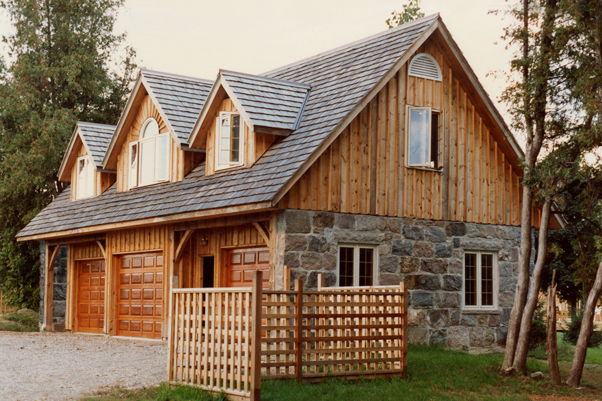 A new three bay stone ender and timber garage with upper for 3 bay garage plans