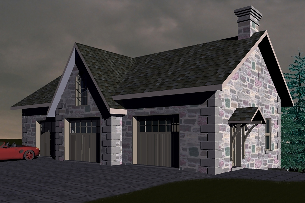 3D Render of a new stone garage.