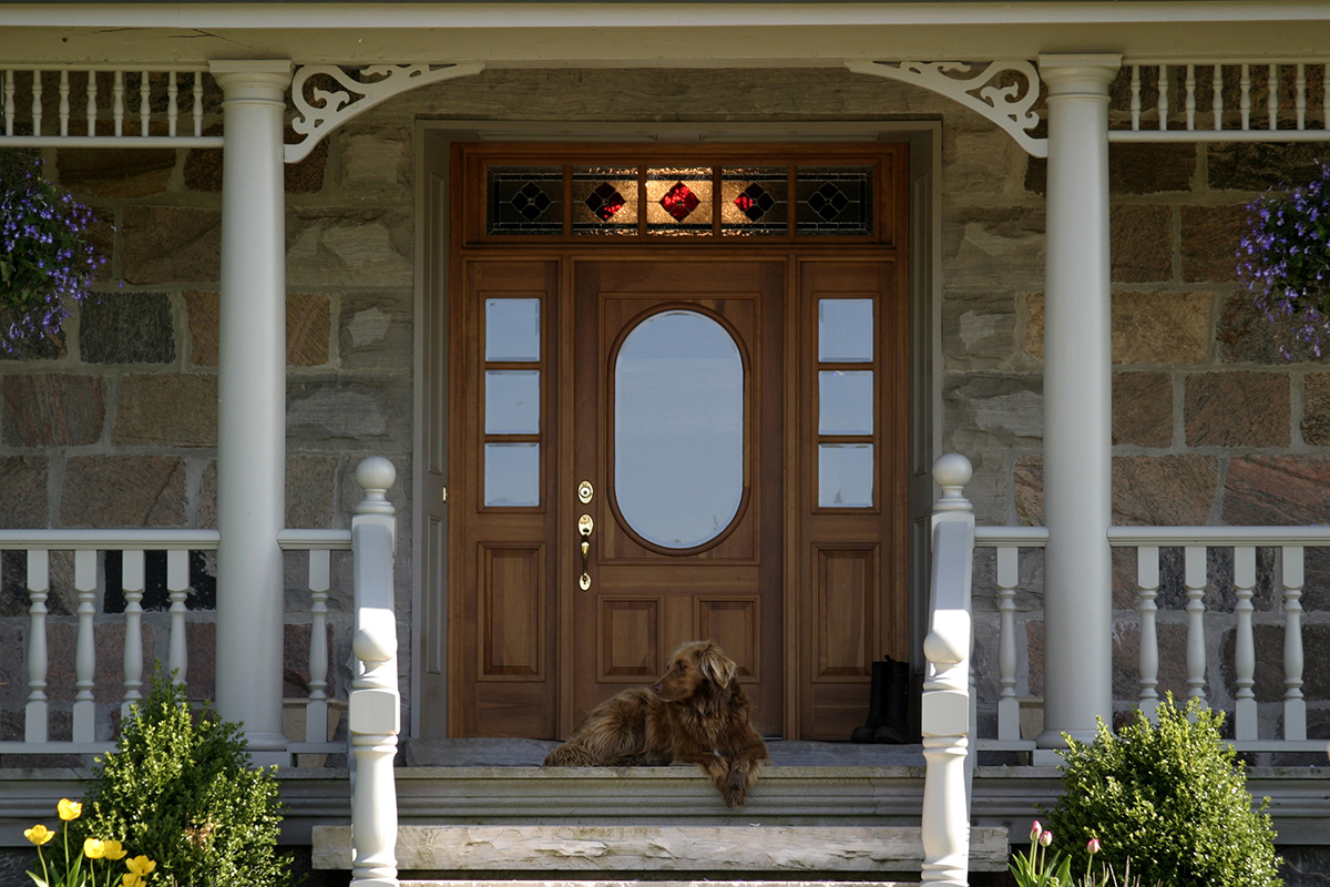 800 #50592F An Elegant Cherry Entry Door With Period Sidelights And Transom Lead  image Exterior Doors With Sidelights And Transoms 39031200