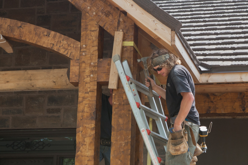 Hand-hewn Timber Frame Porch