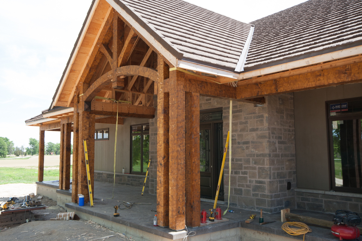 Hand-hewn timber frame porch.