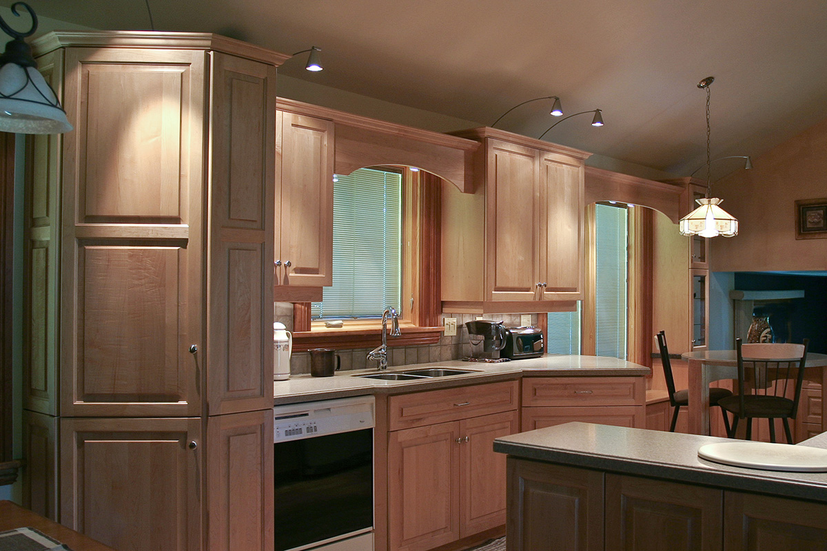 Less interior walls and new larger windows made for a new open kitchen design.